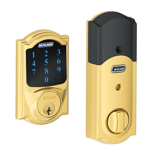 Schlage Z-Wave Connect Camelot Touchscreen Deadbolt with Built-In Alarm, Works with Amazon Alexa via SmartThings, Wink or Iris,  Bright Brass, BE469 CAM 605 by Schlage Lock Company