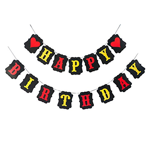HAPPY BIRTHDAY BANNER WITH HEARTS IN RED BLACK AND YELLOW -