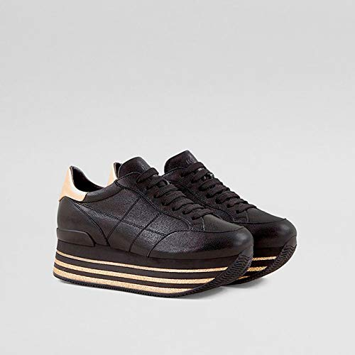 Gold H368 in Black Womens Leather Sneakers Hogan Maxi HSwYqxa