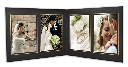 Golden State Art, Cardboard Photo Folder For 4 4x6 Photo (Pack of 50) GS019 Black Color by Golden State Art