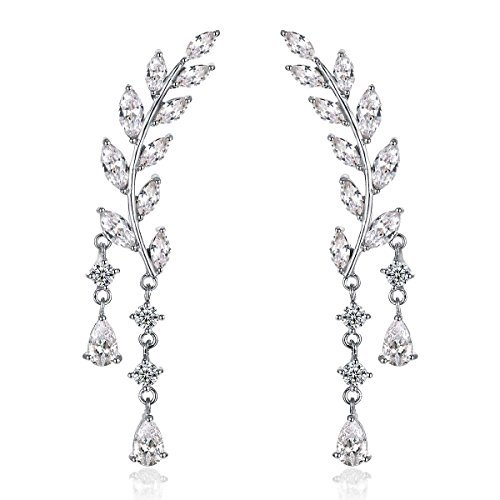 Drop White Stud - Odette 18K White Gold Plade Sweep Up Ear Cuffs Climbers Stud Set Drop Dangle Pierced Earrings Leaf Leaves
