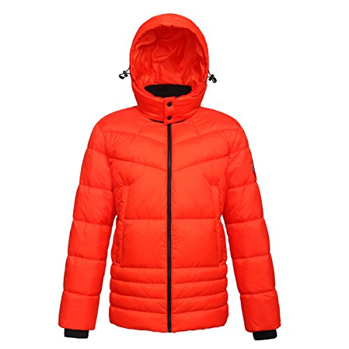 Rokka&Rolla Men's Heavy Padded Water-Resistant Hooded Thickened Quilted Puffer Jacket ()