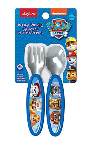 Playtex Paw Patrol Toddler Utensils - Boys Fork & Spoon Set, Blue