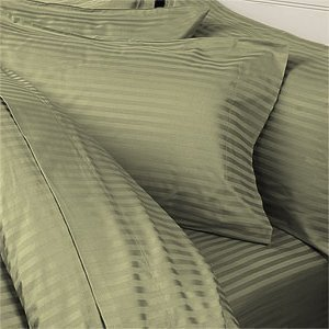 Stripe Sage Green (100% Cotton- Duvet Cover Set with Button Enclosure, 300TC - Sage Stripes, Full/Queen, 3PC Duvet Cover)
