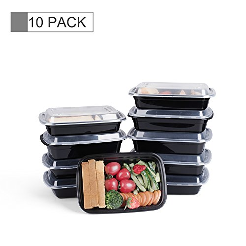 Glotoch Bento Box, 38 Ounce Wholesale 1 Compartment Plastic Food Storage Containers for Meal Prep-Microwave, Freezer & Dishwasher Safe - Eco Friendly Safe Food Container, Pack of 10