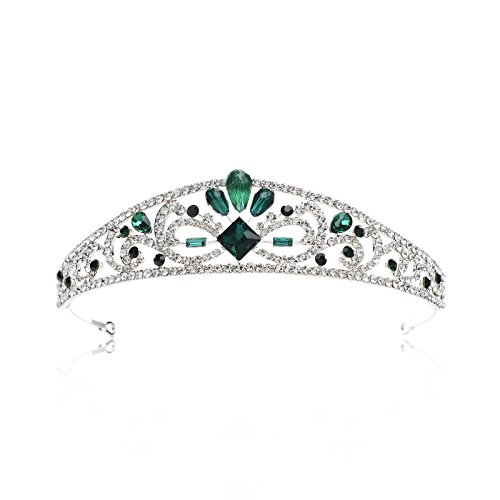 SWEETV Royal Emerald Princess Crown Crystal Tiara Head Pieces Jewelry Women Costume Accessories