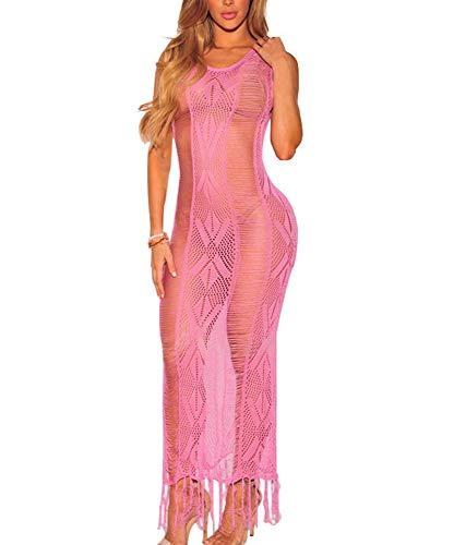 Women's Crochet Bikini Dress Swimsuit Cover Ups Sleeveless Fringe Beachwear (Rose Red, Small)