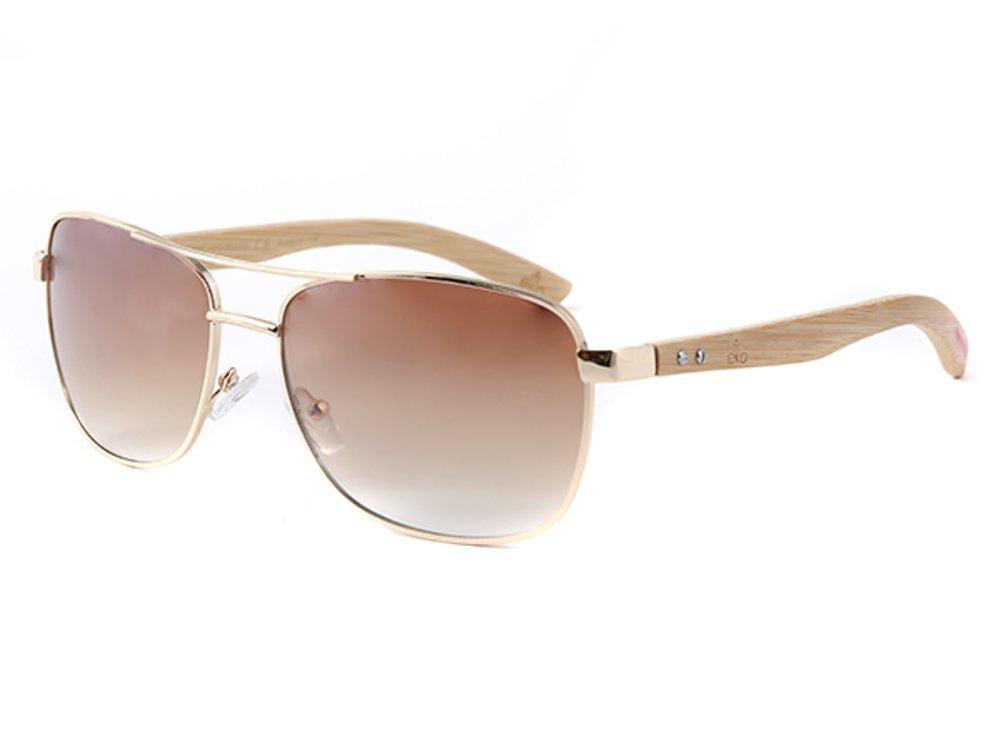 LOOX Sonnenbrille Pilotenbrille 400UV getönt Bambusholz Bügel - Modell Myanmar braun KSn2l
