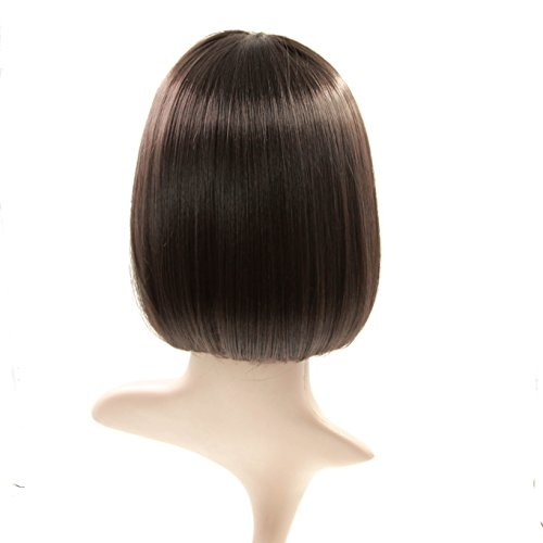 Charming Christmas Gift Short Bob Wigs Straight Bang Cosplay for Xmas Party Costume Wig Natural as Real hair 11 inch (Black) by FannisCoco (Image #2)