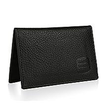 Suvelle Mens Slim Leather RFID Card Wallet, Thin Minimalist Front Pocket Wallet WR100
