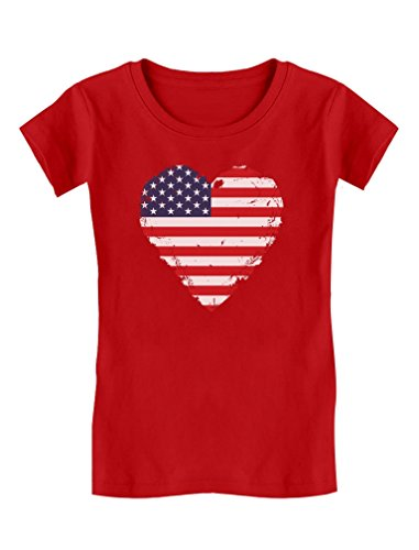 Love USA 4th of July American Heart Flag Toddler/Kids Girls' Fitted T-Shirt 4T ()