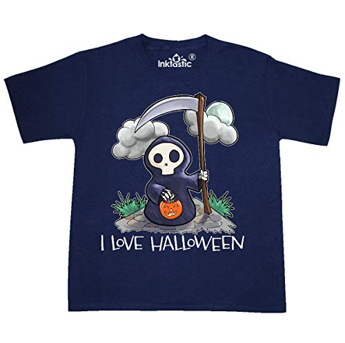 inktastic - Halloween Cute Grim Reaper- I Youth T-Shirt Youth Small (6-8) Navy]()