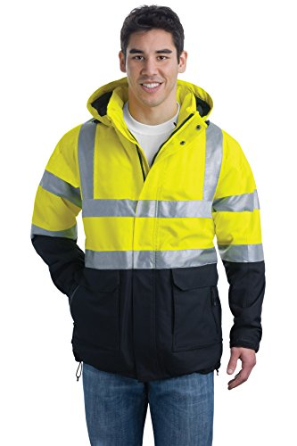 Port Authority ANSI 107 Class 3 Safety Heavyweight Parka. J799S Safety Yellow/ Black/Reflective L