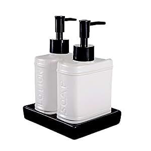 Wentao 3 piece ceramic bath accessory set - Bathroom soap and lotion dispenser set ...