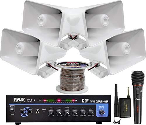 Lectronify Pyle 120 W PA Amplifier System Lot 4 Horn Speakers/Wireless Microphone 100-foot (120 Watt Microphone Pa Amplifier)