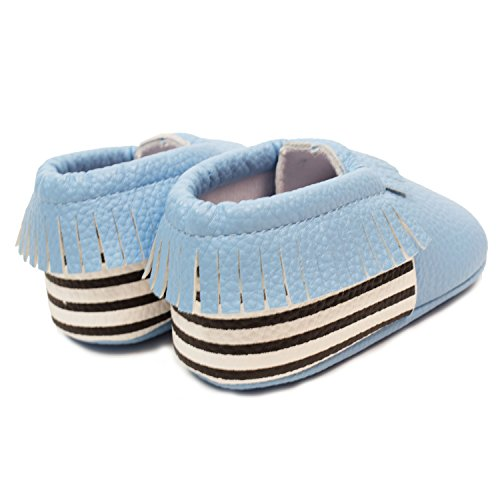 Frills Infant Toddlers Baby Boys and Girls Soft Soled Fringe Crib Shoes PU Moccasins - Striped Blue (for Ages 6-12 months/12 cm Length) by Frills Du Jour (Image #3)