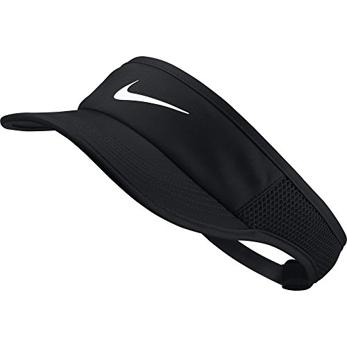 Womens Tennis Visor - NIKE Women's Aerobill Featherlite Adjustable Visor, Black/Black/Black/White, One Size
