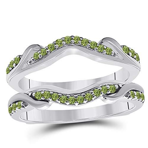 Star Retail 14k White Gold Plated Alloy Contoured Engagement Wedding Enhancer Ring Guard with CZ Green Peridot (0.25 ct. tw.)