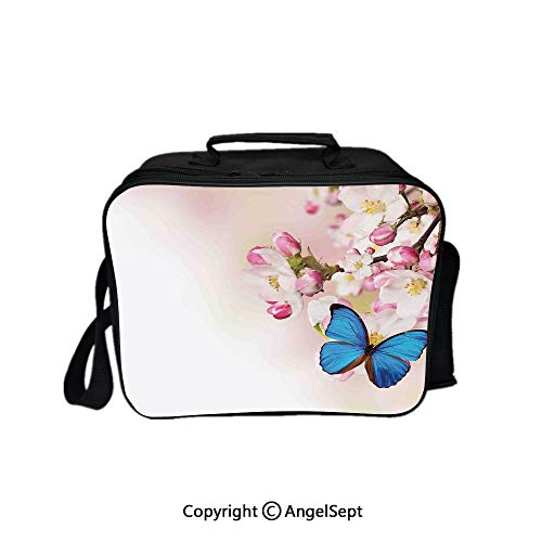 Travel Picnic Lunch Box Wide Open Lunch,Blue Butterfly on Spring Cherry Blossoms Japanese Flower White Pink Orchard Nature Blue Pastel Pink 8.3inch,Lunch Bags For Unisex -