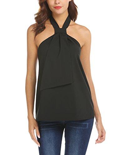 - Dealwell Women Summer Sleeveless Office Blouse Shirt Halter Tie Neck Open Back Tank Top (Black, Medium)
