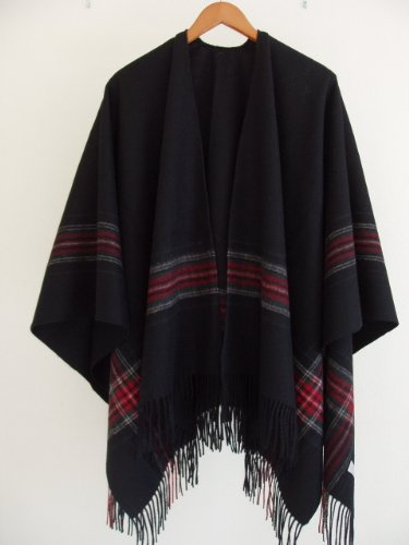 UPC 633232522165, Man or Woman's Black Cape with Subdued Border of Red Plaid Cashmere Blended Lamb's Wool