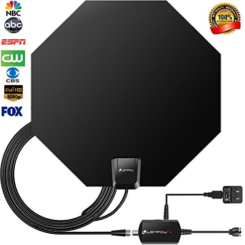 - TV Antenna, LENPOW Best Indoor 1080P Amplified Digital TV Antenna 60 Mile Range Detachable Amplifier Signal Booster, USB Power Supply, 16.5Ft High Performance Coaxial Cable, Black