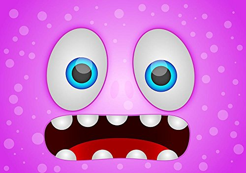 Gifts Delight Laminated 34x24 inches Poster: Monster Draw Design Character Creature Cartoon Animal Cute Icon Happy Alien Halloween Comic Fun Symbol Fantasy Beast Face Artwork Hand Collection -