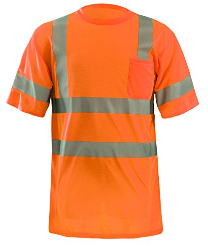 OccuNomix LUX-SSETP3-OL Classic Standard Dual Stripe Short Sleeve Wicking T-Shirt with Pocket, Class 3, 100% ANSI Wicking Spun Polyester, Large, Orange (High Visibility)