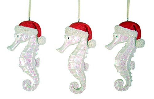 White Glitter Seahorse Hanging Christmas Ornament 4 1/4 Inch (Set of 3)