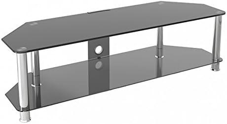 King Mesas de TV de Cristal, de Cristal Negro Gabinete Mueble Plataforme de TV, Cable Gestión, LCD, LED, HD, curvado, 4K, 32