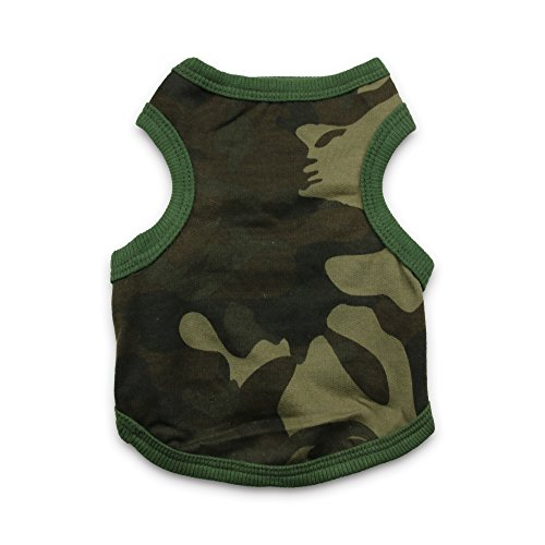 [DroolingDog Dog Cat Camo Shirt Tank Camouflage Summer Costume for Small Dogs, S, Army Green] (Army Dog Costumes)