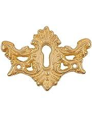 "Ornamental Unfinished Solid Brass Keyhole Cover | 2"" L x 1 7/16"" H | Keyhole Escutcheon Plate for Cabinet Door, Dresser Drawers, Desk | Antique, Modern Furniture Hardware | K12-B3571SB (R-6)"
