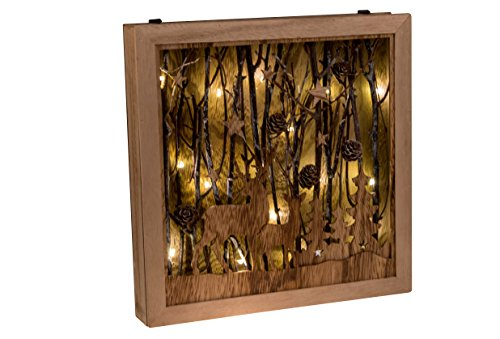 "Deer in Winter Forest Wooden Table Top Decoration with Gentle LED Lighting | Natural Wood Christmas Décor Theme with Pinecones | Stands 11.75"" x 11.75"