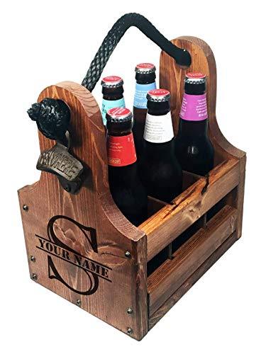 (Rustic Wood Beer Caddy with Bottle Opener and Magnetic Cap Catch - Personalized Split Monogram Gift)