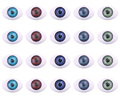 Scary Eye Shapes (50pcs Plastic Scary Eyes Hollow Oval Flat Eyes Half for DIY Crafts Puppets Porcelain Or Reborn Doll Bear Stuffed Animal Toys)