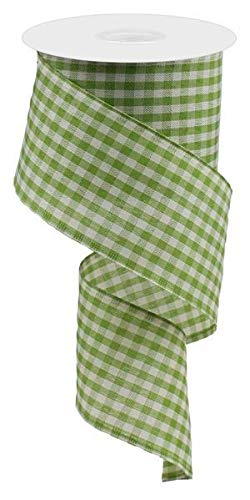 Primitive Gingham Check Wired Edge Ribbon, 10 Yards (Light Moss, Ivory, 2.5