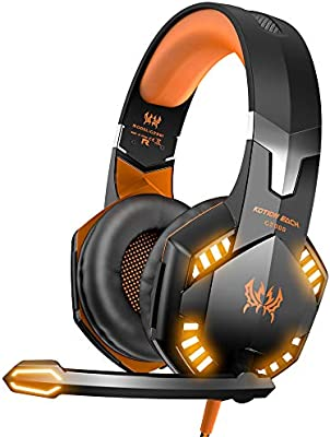 VersionTECH. G2000 Stereo Gaming Headset for Xbox one PS4 PC, Surround Sound Over-Ear Headphones with Noise Cancelling Mic, LED Lights, Volume Control for Laptop Mac iPad Nintendo Switch - Orange - 10146553 , B012DFI5A6 , 285_B012DFI5A6 , 1007851 , VersionTECH.-G2000-Stereo-Gaming-Headset-for-Xbox-one-PS4-PC-Surround-Sound-Over-Ear-Headphones-with-Noise-Cancelling-Mic-LED-Lights-Volume-Control-for-Laptop-Mac-iPad-Nintendo-Switch-Orange-285_B012