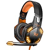 VersionTECH. G2000 Stereo Gaming Headset for Xbox one PS4 PC - Surround Sound Over-Ear Headphones with Noise Cancelling Mic - LED Lights - Volume Control for Laptop Mac PS3 iPad Nintendo Switch - Orange