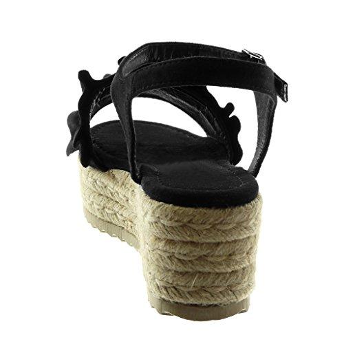 Angkorly Zapatillas Moda Sandalias Mules Correa de Tobillo Plataforma Mujer con Volante Cuerda Trenzado Plataforma 6.5 cm Negro