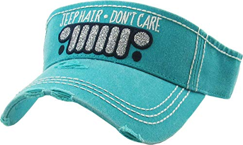 (H-201-JHDC46 Ponytail Visor Patch Hat - Jeep Hair Don't Care, Teal)