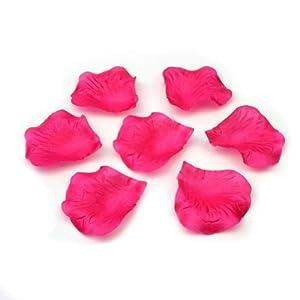 RHX 500pcs Fabric Silk Flower Rose Petals Wedding Party High Quality Decor Hot Pink 13