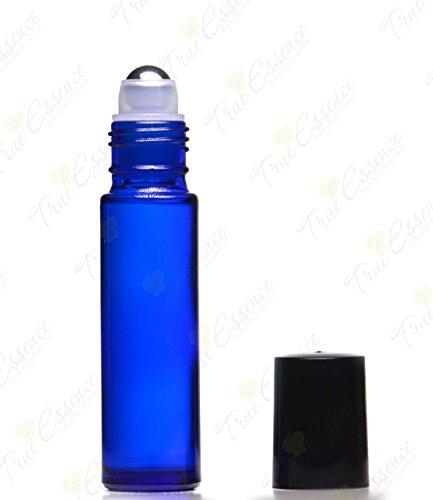 10 Ml (1/3oz) Cobalt Blue Glass Bottle with Metal Roll on Ball & Black Caps - Pack of (10 Original True Roller)