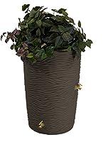 Good Ideas IMP-L50-OAK Impressions Palm Rain Barrel, 50-Gallon, Oak