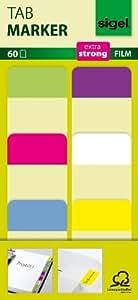 Tab Marker Film Adhesivo Marcadores Extra Fuerte 25 x 38 mm 60 hojas de limón/color de rosa/azul/púrpura/blanco/amarillo