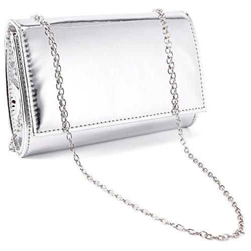 Wedding Ladies Small Prom Clutch Evening Designer Anladia Patent Women Silver Metallic Bags pqYOw0