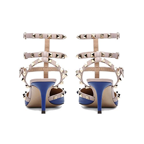 Stud Femmes Blue Robe de cloutées Bout Caitlin à Sandales Cheville Strap Pompes Chaussure Nude Sangles Pointu Matte de Pan Gold lanières Escarpins Navy 5nqTZZwRxf