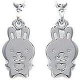 Boucles d'oreilles lapin magique et son coeur en argent 925°/00