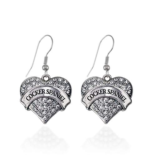 - Inspired Silver - Cocker Spaniel Charm Earrings for Women - Silver Pave Heart Charm French Hook Drop Earrings with Cubic Zirconia Jewelry
