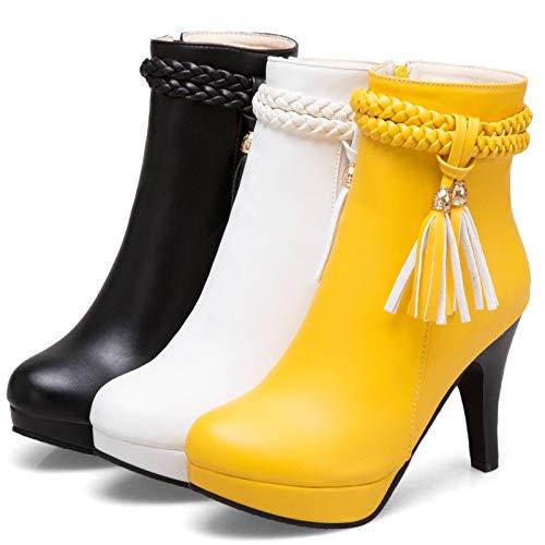 黄色 Europa Estados Borlas Y Impermeable Gruesas Plataforma Con Otoño Invierno De Tacón E Alto Unidos Phy Shoe Botas SfPUTU