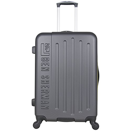 Ben Sherman Leicester 24 Hardside Lightweight 4-Wheel Spinner Checked Luggage, Charcoal